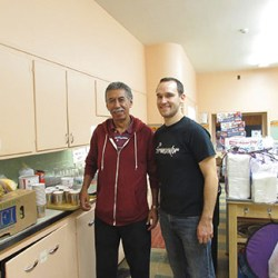 Texas pilgrim Gilberto Patino helped Pastor Timothy Johansen in the kitchen.