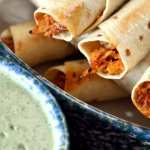 Baked Honey Lime Chicken Taquitos with Cilantro Lime Cream