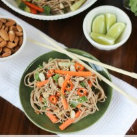 Soba Noodles with Spicy Almond Butter Sauce {& a Giveaway!}