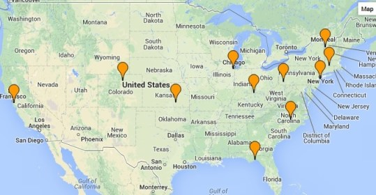 All the national locations for organizations in solidarity with the Guantanamo Bay detainees.