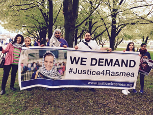 Palestinian community leader Rasmea Odeh and her supporters (Photo by Bill Chambers)