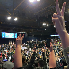Protestors flashing peace signs at Trump Supporters once rally was cancelled. (Photo Courtesy of Cruz Rodriguez)