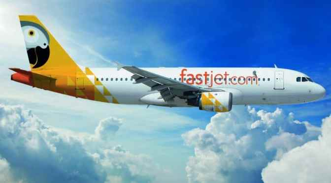 Fastjet airplane in the air