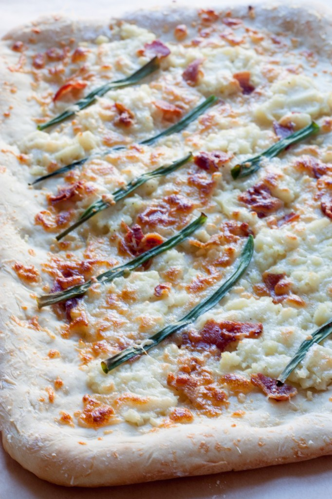 Mashed Potato, Bacon, and Scallion Pizza - This is the perfect way to use up leftover mashed potatoes with a pizza that comes together in less than 30 minutes