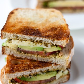 Pesto, Tomato and Avocado Sandwich