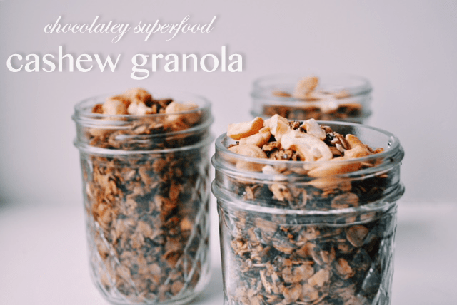 Chocolatey Superfood Cashew Granola | Vegan