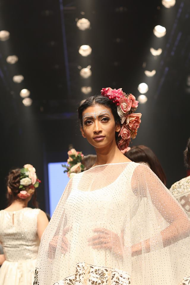 A model in one vof Niki Mahajan's latest collection, at Dream Diamonds Delhi Times Fashion Week