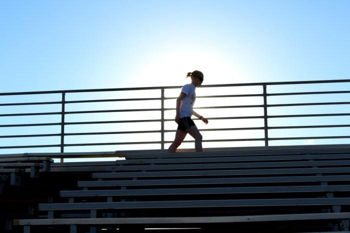 Kym Crosby training at University Stadium earlier this year.
