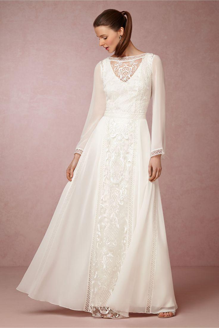 long sleeve wedding dresses sleeved wedding dress Tadashi Shoji Boho Wedding Dress with Long Sleeves