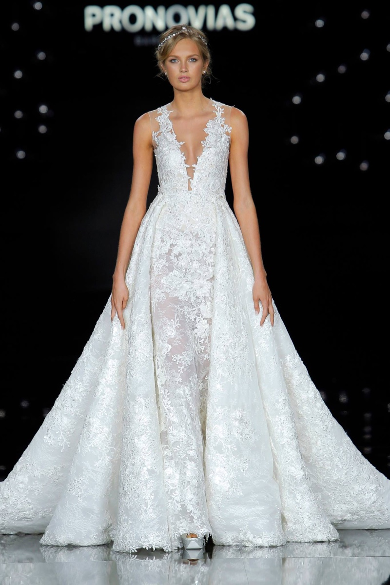 la ciel bridal collection pronovias plunge wedding dress Plunge Neck Lace Wedding Dress with Stunning Overskirt from Atelier Pronovias