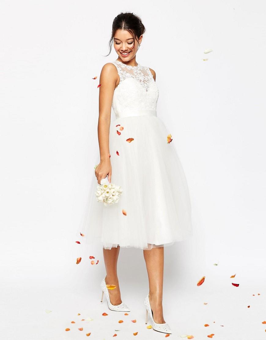 lace midi bridesmaid dresses midi wedding dress 20 Beautiful Wedding Dresses Under That Look Anything But