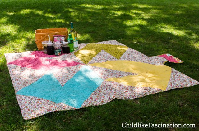 "60""x60"" finished picnic blanket"