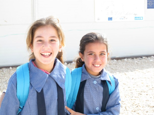 Two schoolgirls in Za'atari refugee camp