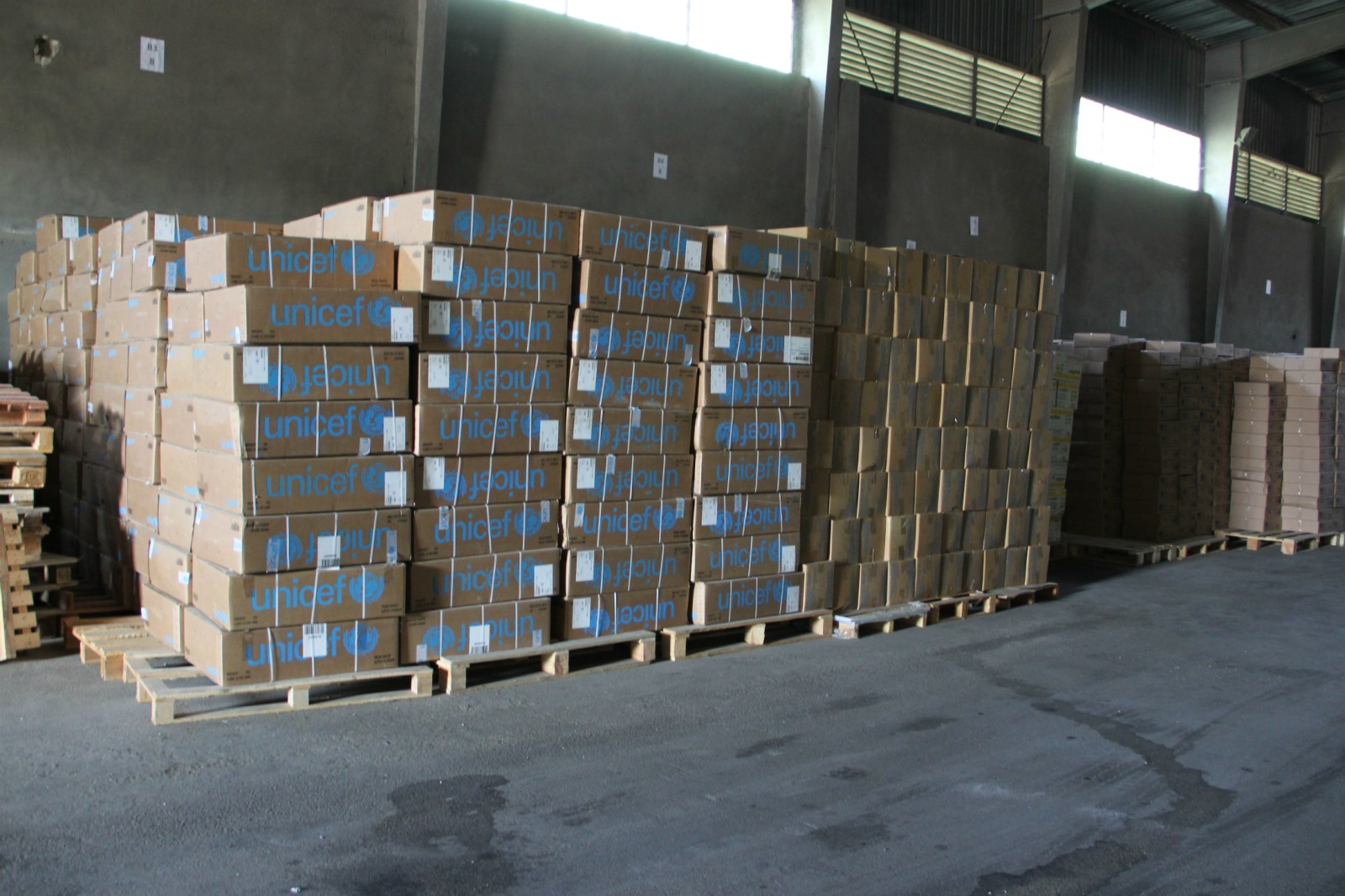 Boxes of UNICEF emergency supplies in the warehouse