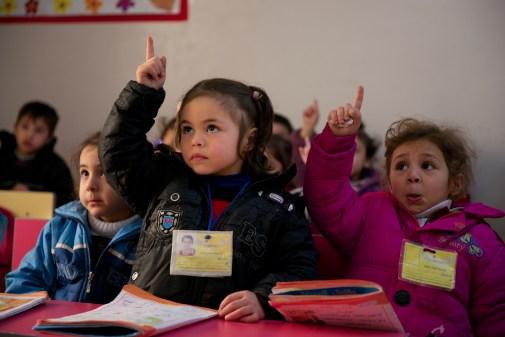 Two children in a kindergarten Arabic class