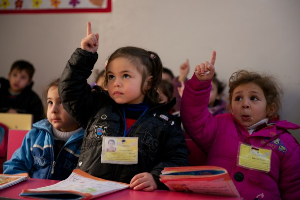 Two children in a kindergarten Arabic class