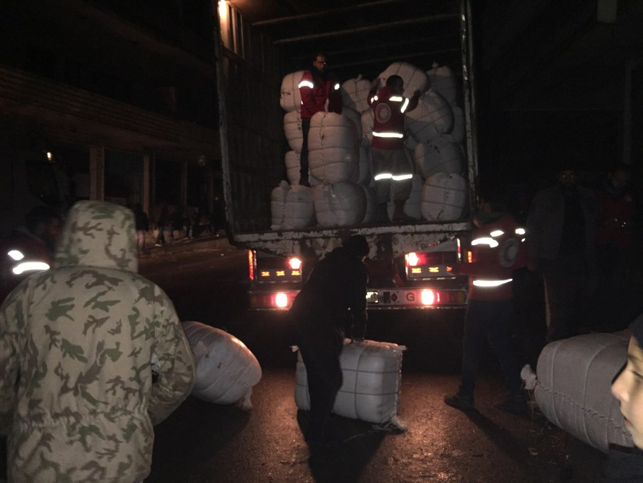 Syrian Arab Red Crescent volunteers are offloading the humanitarian emergency supplies as they reach Madaya almost midnight. On Monday, UNICEF, as part of a UN, ICRC and Syrian Arab Red Crescent convoy delivered therapeutic nutrition supplies that included multiple micronutrient, therapeutic spread, high energy biscuits to people in need in Madaya. UNICEF/2016/Madaya