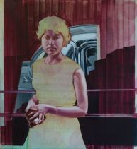 """Woman and car"" by Shane Berkery at the Chimera Gallery, Mullingar, Co Westmeath , Ireland"