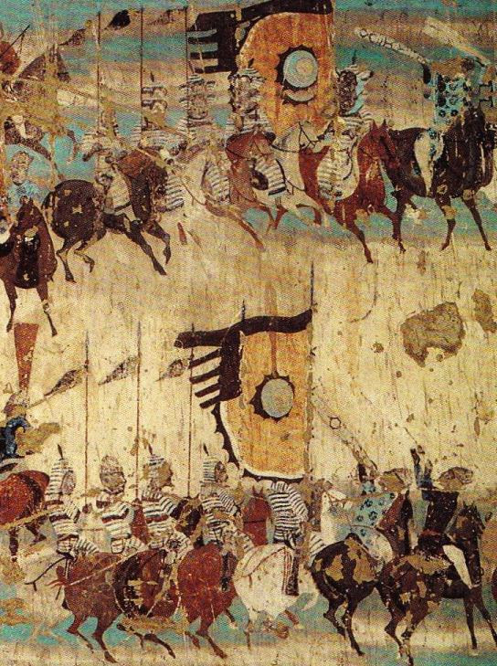 Detail of mural commemorating victory of General Zhang Yichao over the Tibetans. Dunhuang Mogao cave 156, Late Tang Dynasty. Dunhuang Mogao Caves, scanned from Cave Temples of Dunhuang: Art and History on the Silk Road.