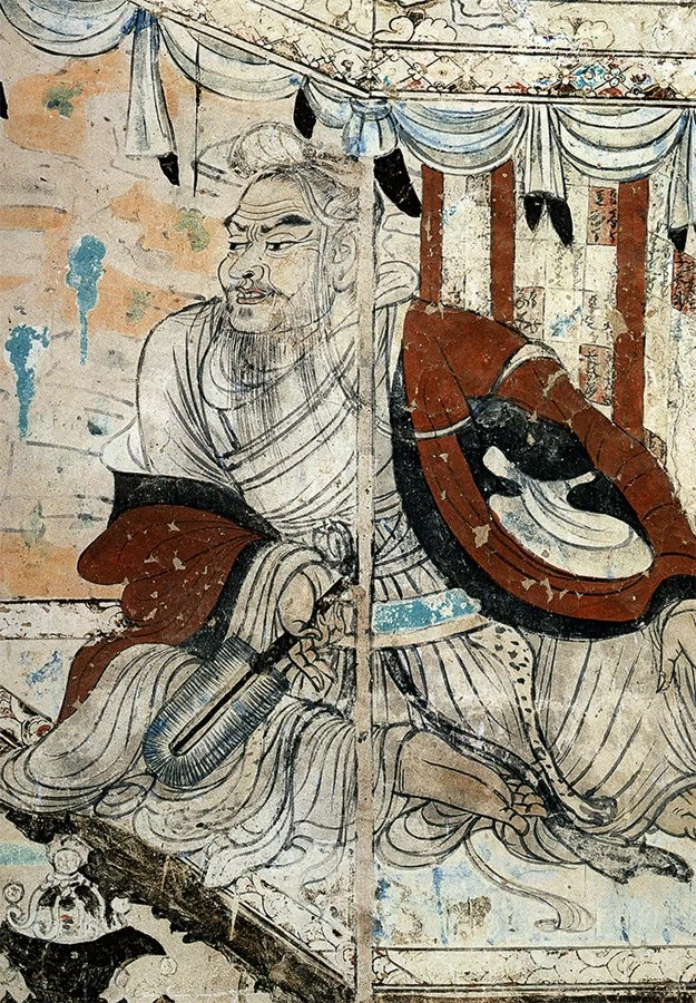 Vimalakirti in debate with the bodhisattva Manjusri, detail from a wall painting in Cave 103 of Dunhuang, Gansu province, China, dated to the Tang Dynasty, 8th century.