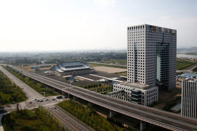 A general view shows the empty customs building in the New Zone urban development in Dandong, Liaoning province, China September 11, 2016. REUTERS/Thomas Peter
