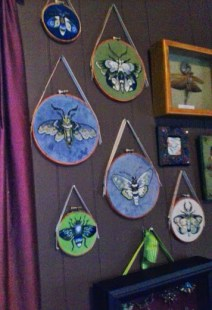 embroidered moths, Embroidery by Suzanne Forbes