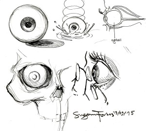 Original eyeball drawing by Suzanne Forbes 2015