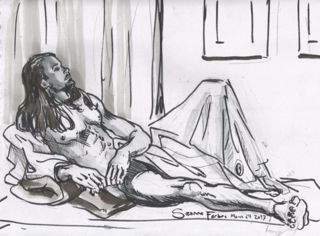 Life drawing of Oskar 25 by Suzanne Forbes at ESDIP Berlin March 24 2017