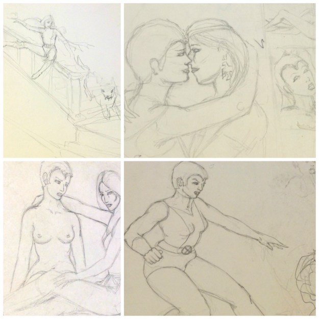 Early New Mutants drawings by Rachel Ketchum 1984 or 5