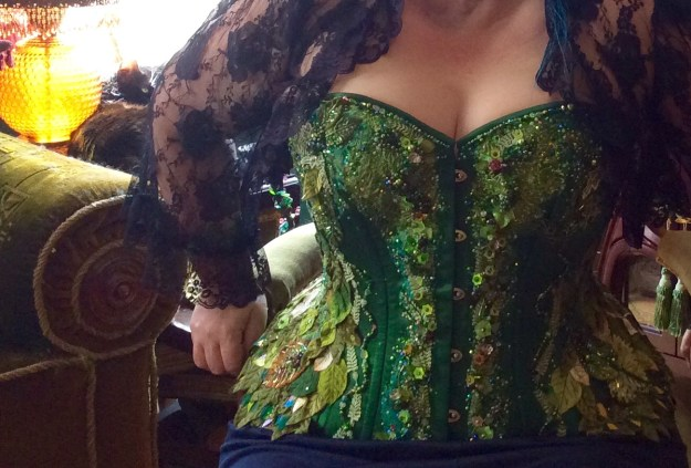 Green beaded corset by Suzanne Forbes May 2017