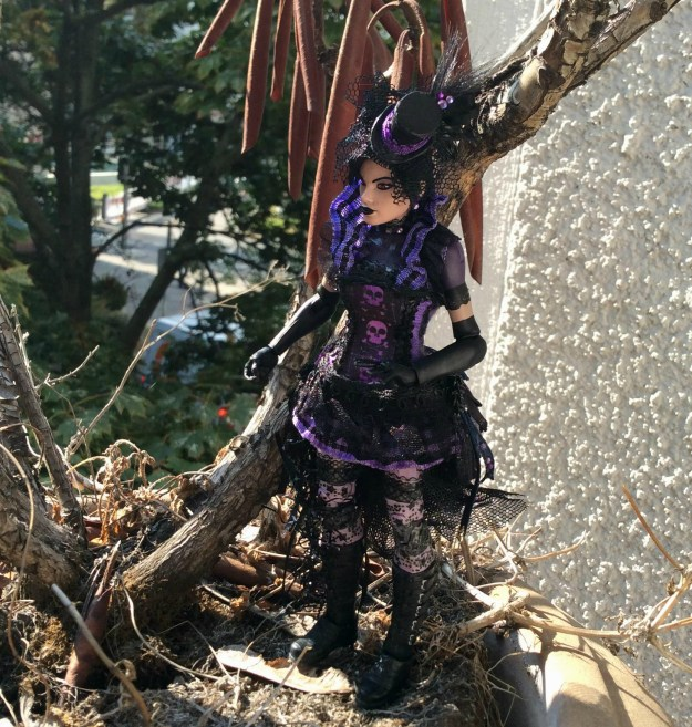 Nico Minoru action figure custom by Suzanne Forbes on balcony Sept 2017