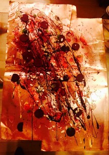 Using a copper surface for the painting...