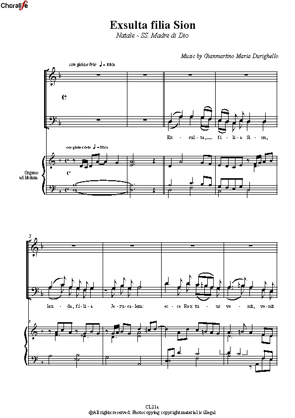 Preview Exulta Filia Sion_SATB Choir_Durighello