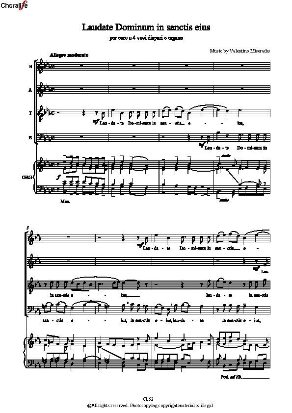 Preview Laudate Dominum in sanctis - Partitura Completa