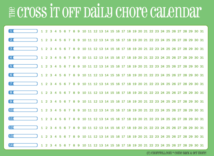 ... Printable Daily Chore Charts. .Monthly Calendars To Print And Fill Out
