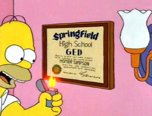 Homer Simpson gets accepted into college and proceeds to light his high school diploma on fire.