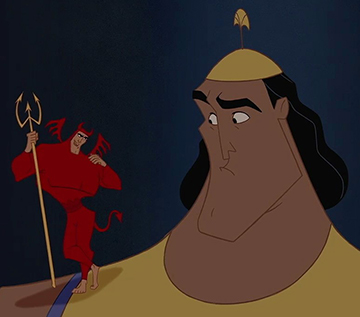 "Kronk and his ""shoulder devil"" from 'The Emperor's New Groove"