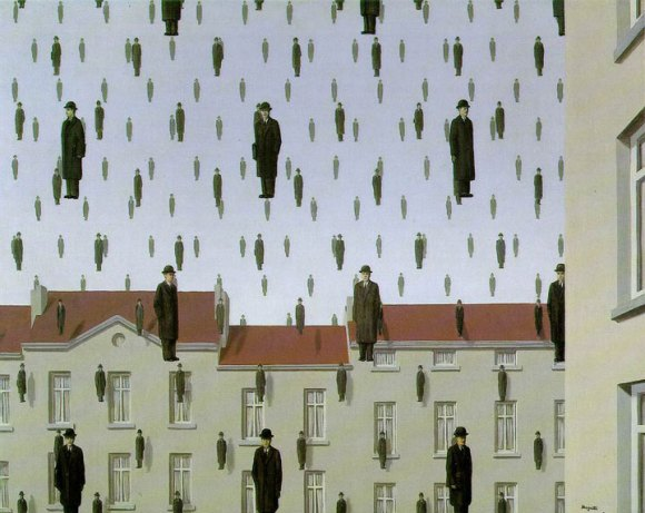 It's raining identical men in bowler hats in this painting by René Magritte.