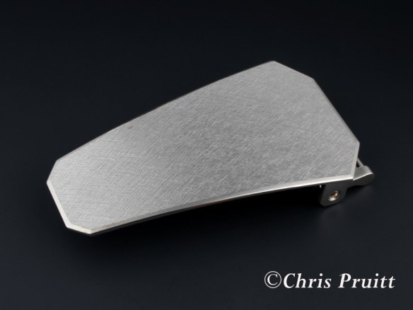 Sterling Straight Shield Crosshatch Buckle