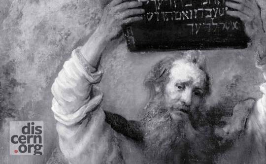 Detail from Moses Smashing the Tablets of the Law, Rembrandt, 1659