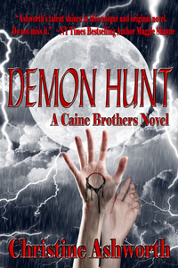 Cover of Demon Hunt, with a full moon and a pair of hands reaching for the lightning.