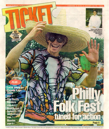 Nobody was more surprised than Chris to find his picture splashed across the cover of The Ticket, the weekend Montgomery County Supplement to the Philadelphia Enquirer! Photo had been taken at the previous year's Philadelphia Folk Festival. —Photo by Joe McDevitt