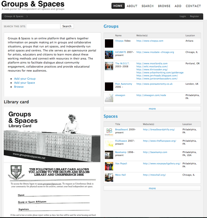 groups and spaces web interface