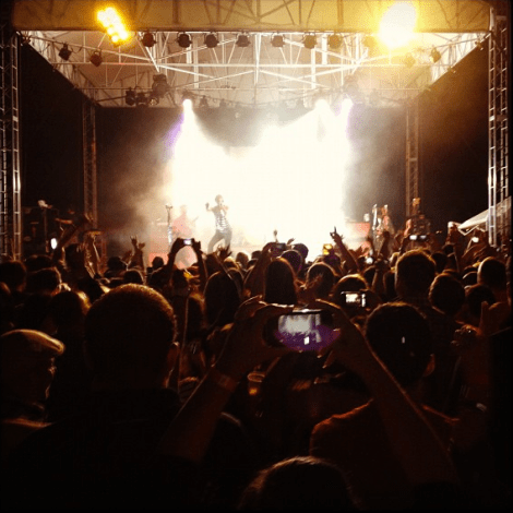 A photo of the crowd at an All American Rejects concert at Xfinity Live in September 2012.