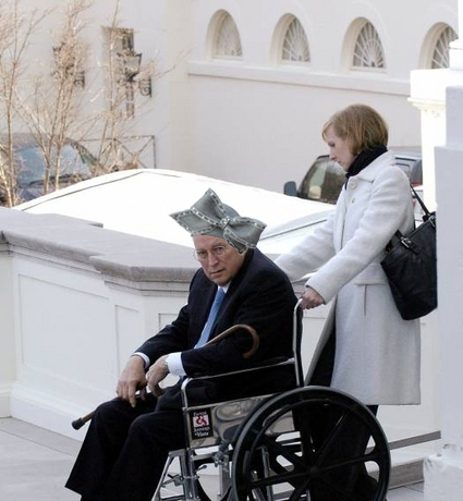 The pagan Hat of Aretha, as worn by a rightfully afflicted Dick Cheney