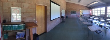 Newly decorated classroom panoramic, looking to the Northwest.