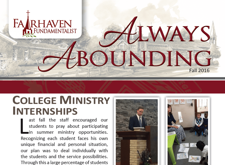 Always Abounding – The Fairhaven Fundamentalist – Fall 2016