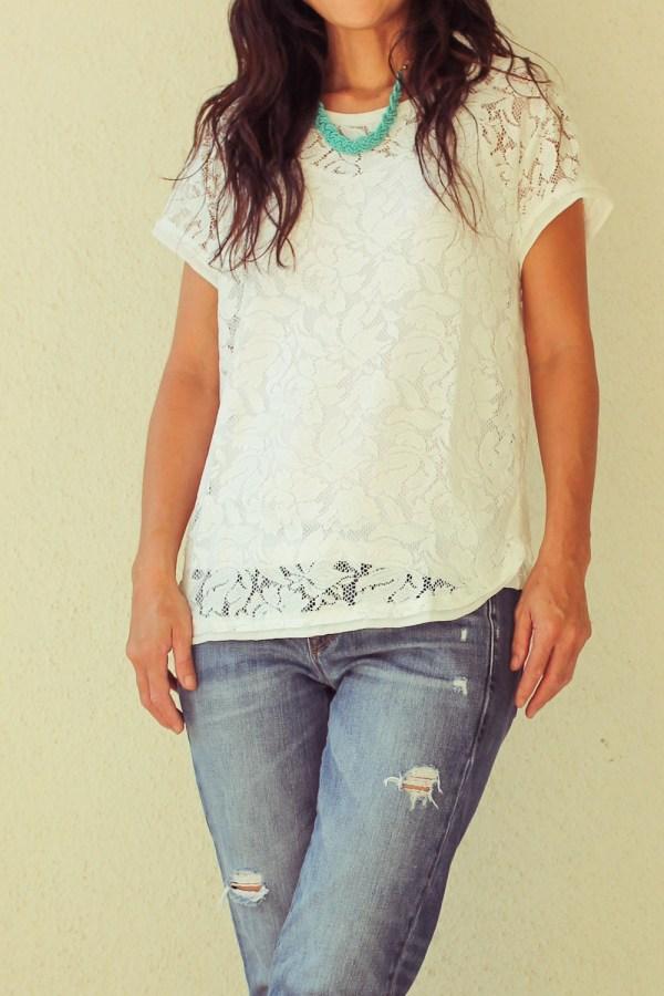 iSanctuary necklace & lace shirt