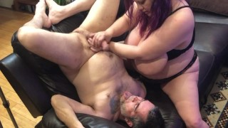 Stroking my fuck slut hubby's big cock over his own face for a huge hot self facial cumshot