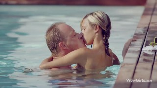 WOWGIRLS Tracy Loves pampering her boy in the pool with amazing kiss, followed by hot sex.
